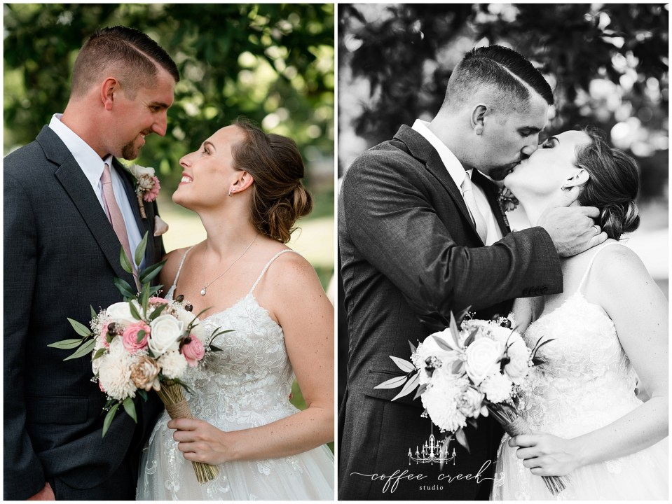 bride and groom in color and black and white