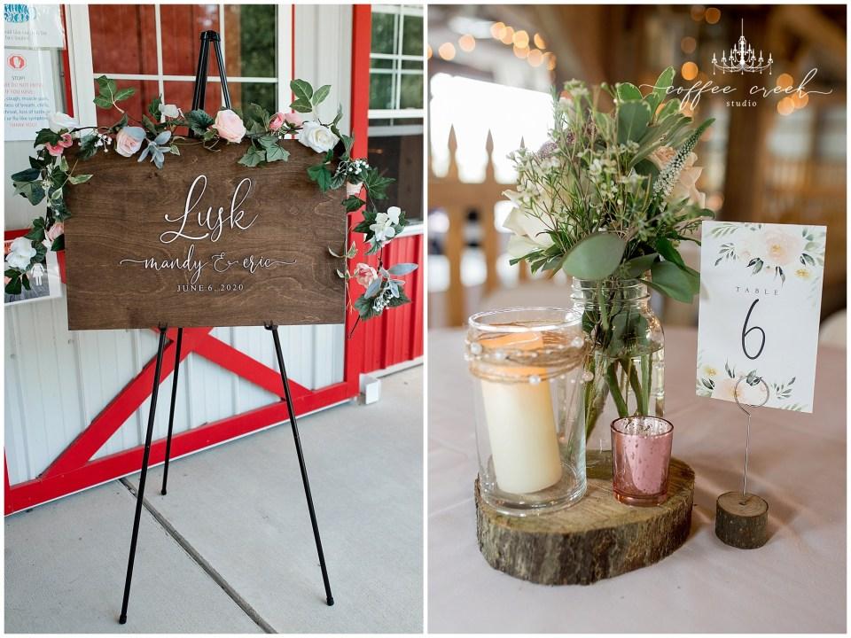 decorations at barn venue wedding reception