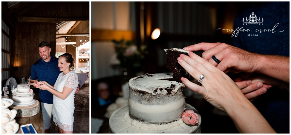 cutting cake at barn venue wedding reception