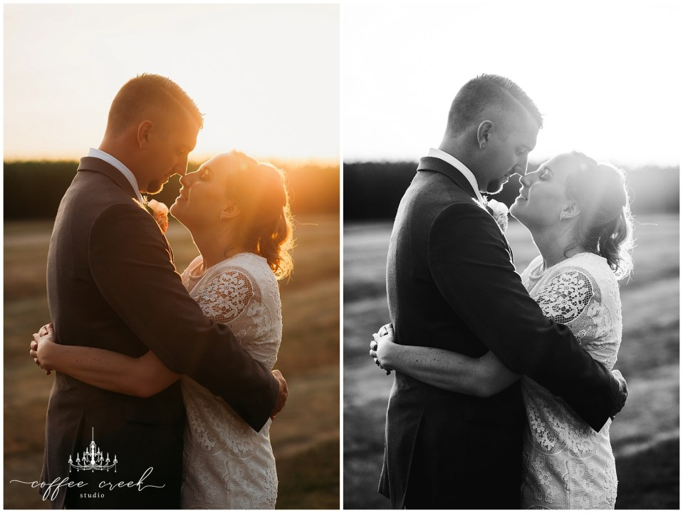 bride and groom in sunset at barn venue wedding reception