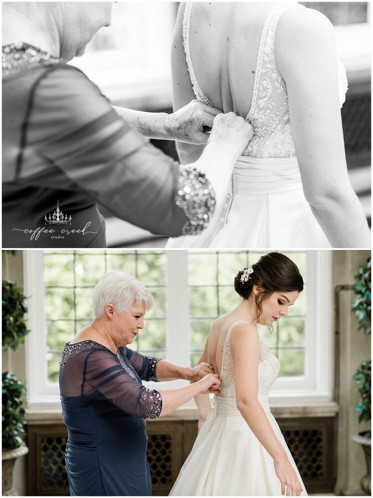 Bride putting on dress at Laurel Hall Wedding