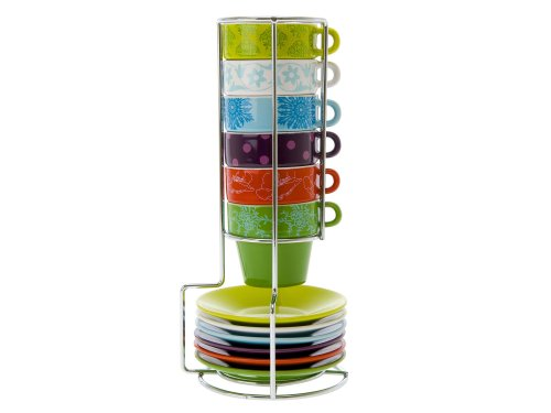 Present Time Fower Patchwork Ceramic Espresso-Cup Tower Set