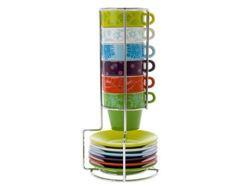 Present Time Fower Patchwork Ceramic Espresso-Cup Tower Set