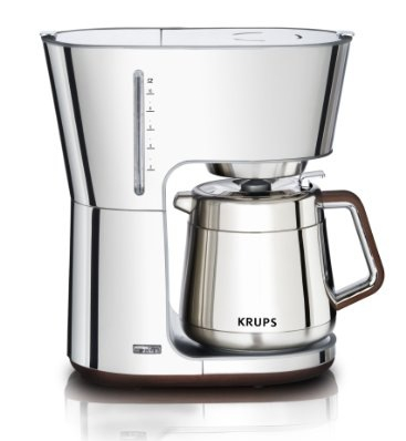 KRUPS KT600 Silver Art Collection Thermal Carafe Coffee Maker with Chrome Stainless Steel Housing