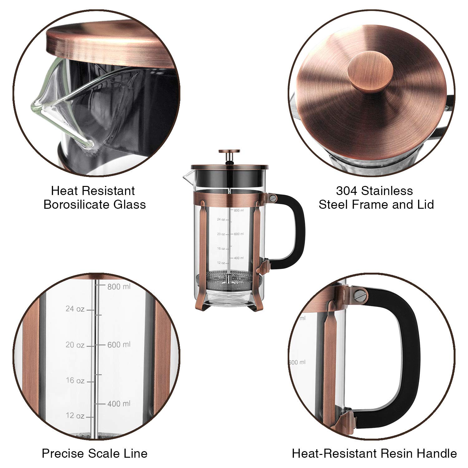 Veken French Press Coffee Maker info