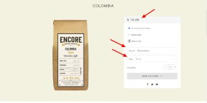 coffee ecommerce page 1