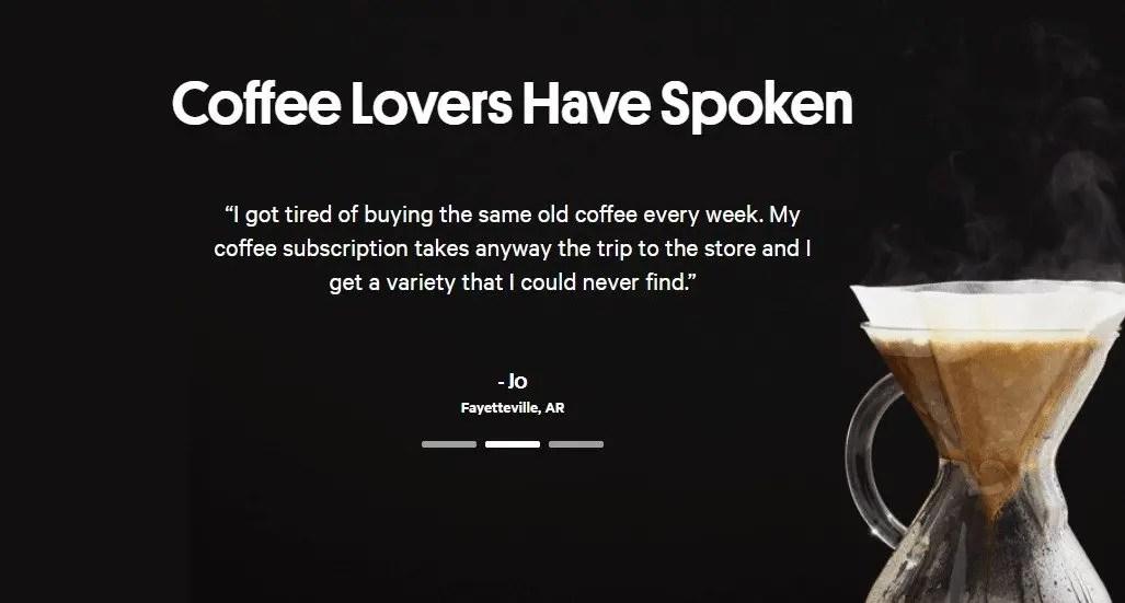coffee testimonials selling online