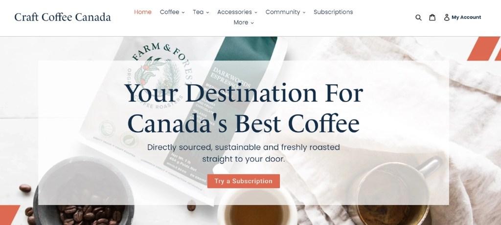 Craft Coffee Canada Website