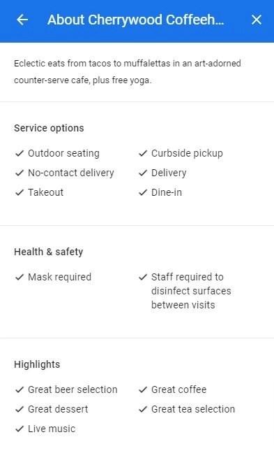 google my business highlights