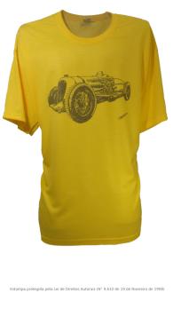 Camiseta com Estampa de Carro de Corrida Antigo - Bentley Napier Railton Amarela