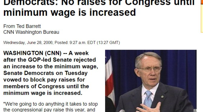 CNN.com – Democrats vow to block pay raises until minimum wage increased – June 27, 2006