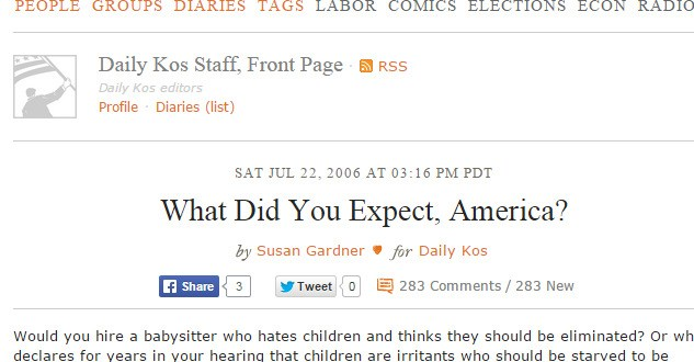 Daily Kos: What Did You Expect, America?