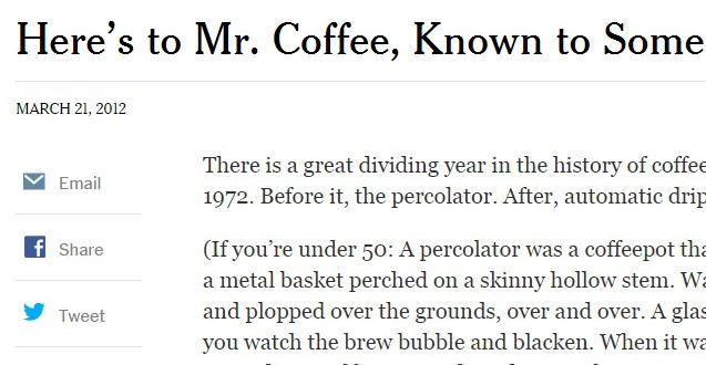 Here's to Mr. Coffee, Known to Some as Sam - NYTimes.com