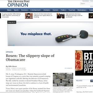 Rosen The slippery slope of Obamacare - The Denver Post