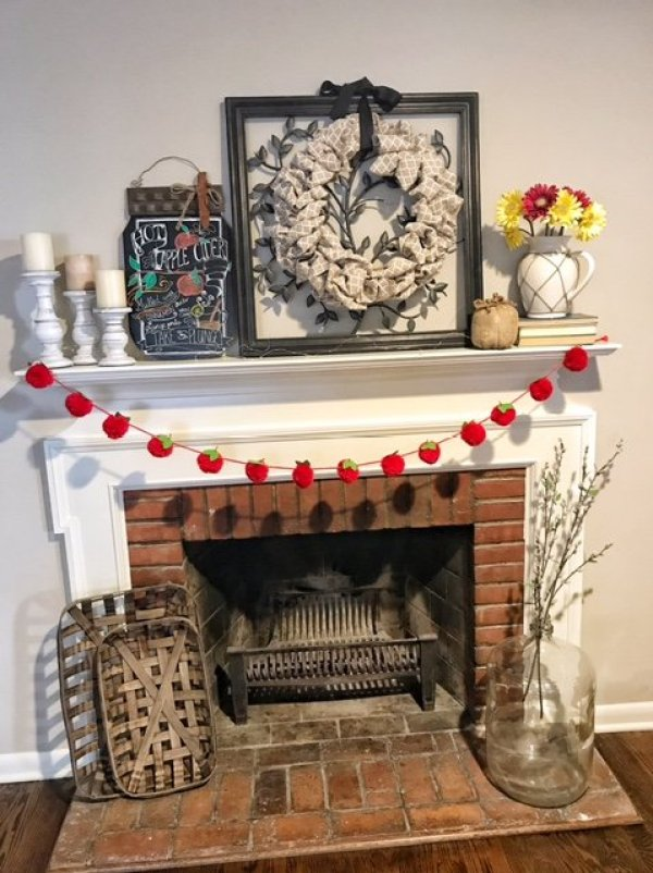 Apple Themed Fall Mantel