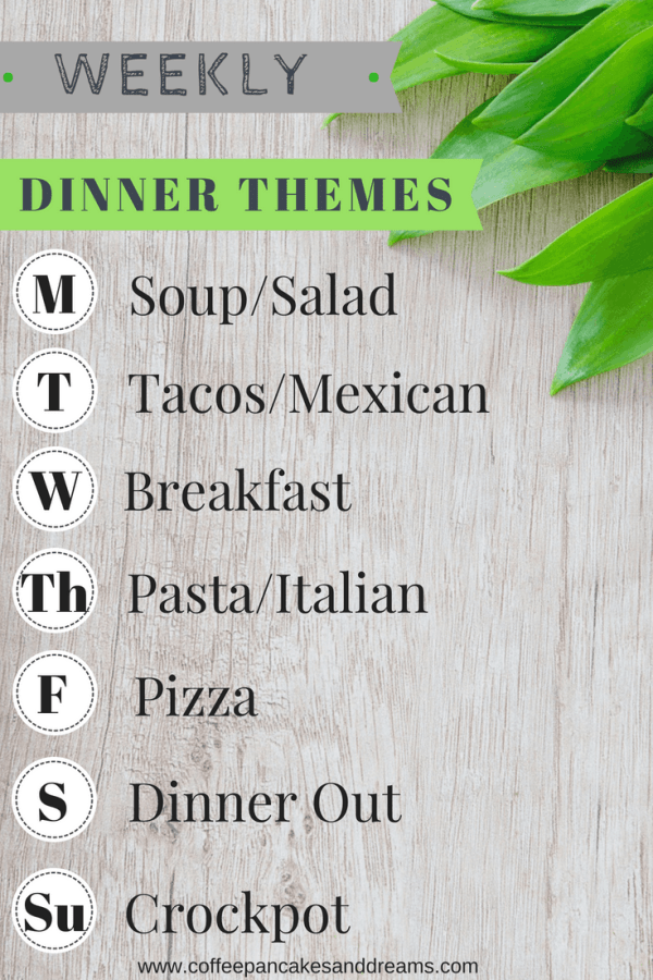 Simple dinner themes that make meal planning easy! #mealplanning #dinnerthemes #dinnerideas