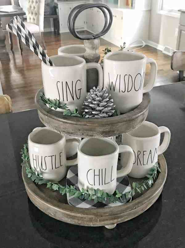 Tiered Stand Styling #farmhousedecor #farmhousekitchen #inexpensivefarmhousedecor #traystyling