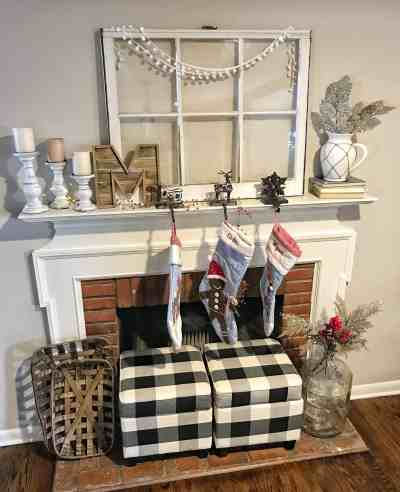 Farmhouse Christmas Mantle | Coffee, Pancakes & Dreams