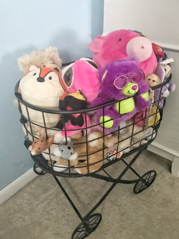 Use a laundry cart to corral stuffed animals and toys
