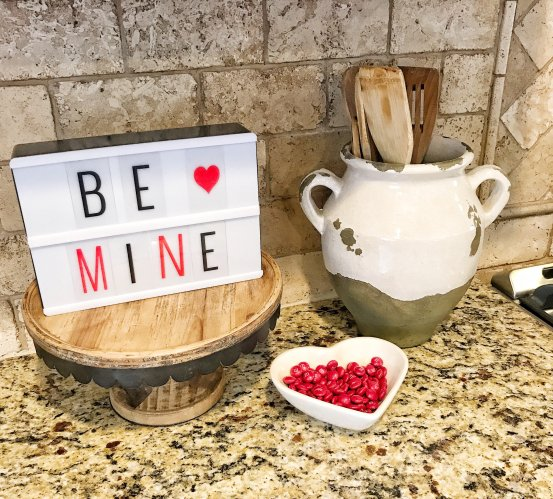 Valentine's Day Decor #lighbox #kitchen