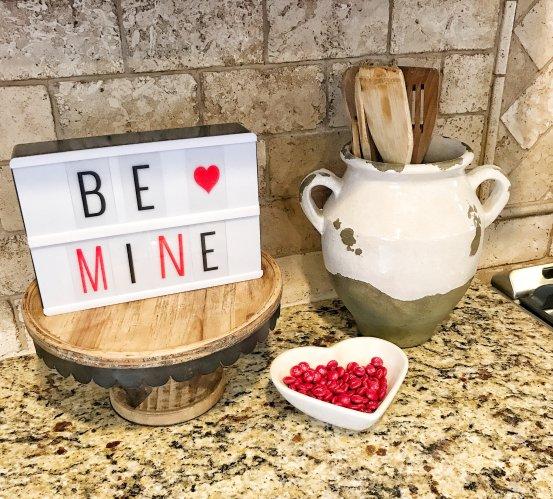 Valentine's Day Decor #lighbox #kitchen