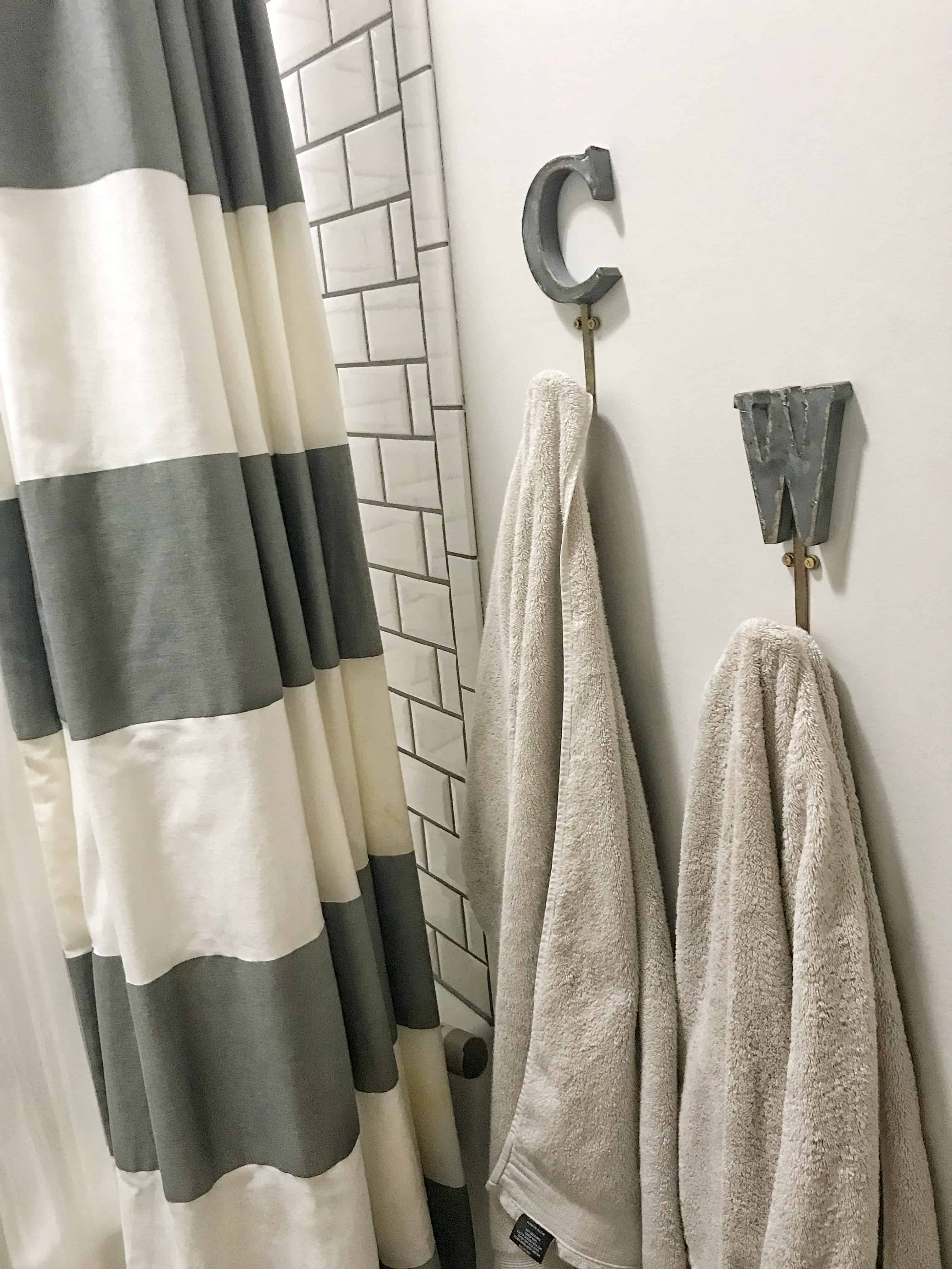 I Absolutely Love These Metal Letter Hooks That I Got From Anthropologie  For The Boys Bathroom. There Are So Many Adorable Hooks Out There, That It  Is Easy ...