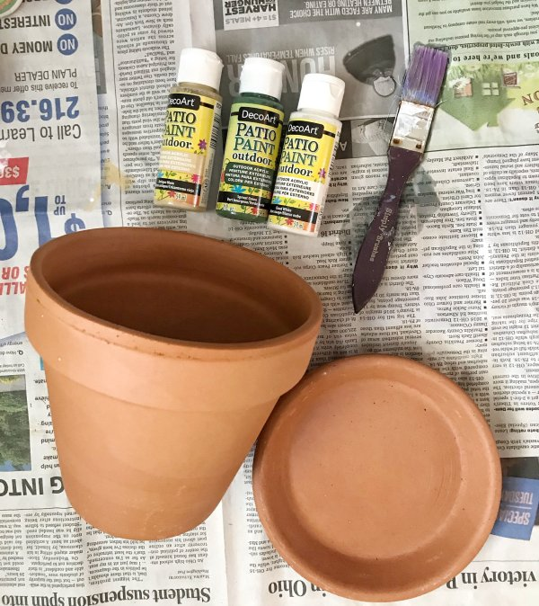 Supplies to DIY Aged Terra Cotta Pots
