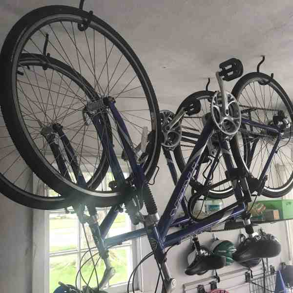 Hang Bikes from Ceiling to Save Garage Space