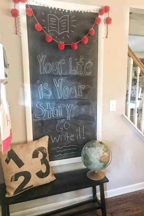 Back to School Chalkboard Wall #chalkboartart #farmhousekitchen #quotes