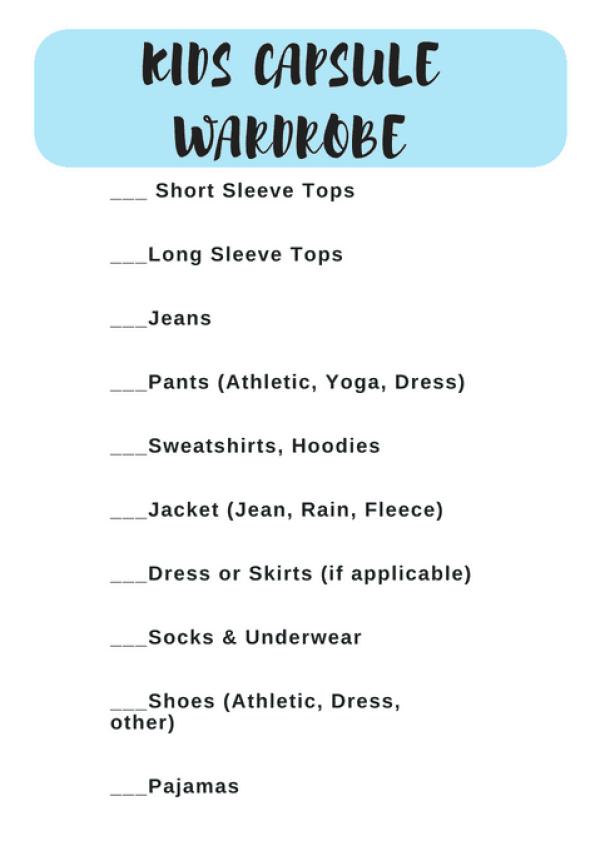 Kids Capsule Wardrobe Checklist #printable #backtoschool #shopping