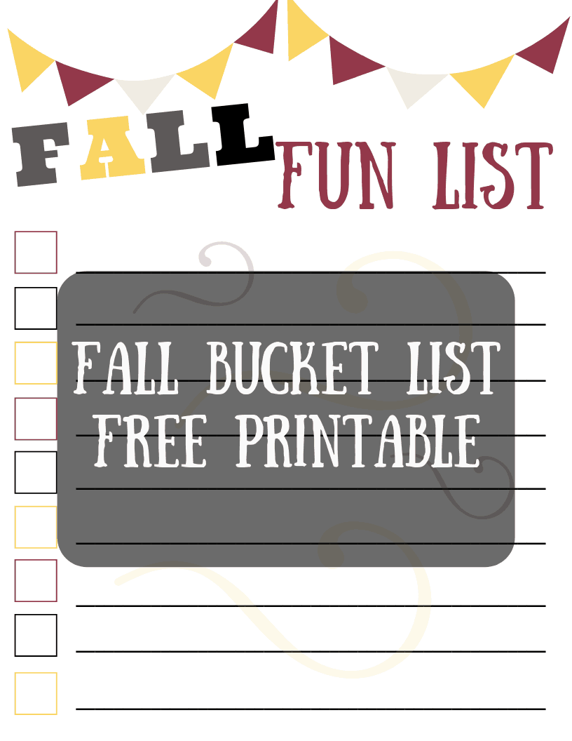 fall bucket list free template