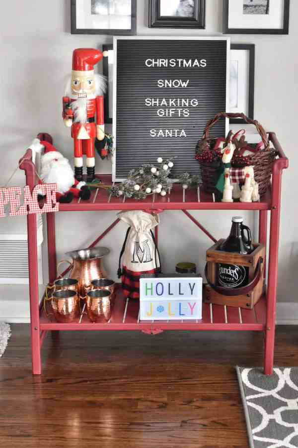 Christmas Themed Bar Cart Inspiration #barcarts #holidaydecorations #holidaybarcart #barcartideas