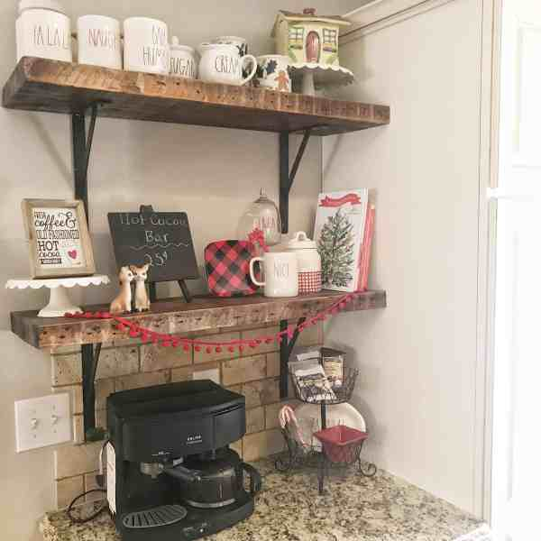 Styling a hot chocolate bar #hotcocoabar #coffeestation #christmasdecor #raedunn #buffalocheck
