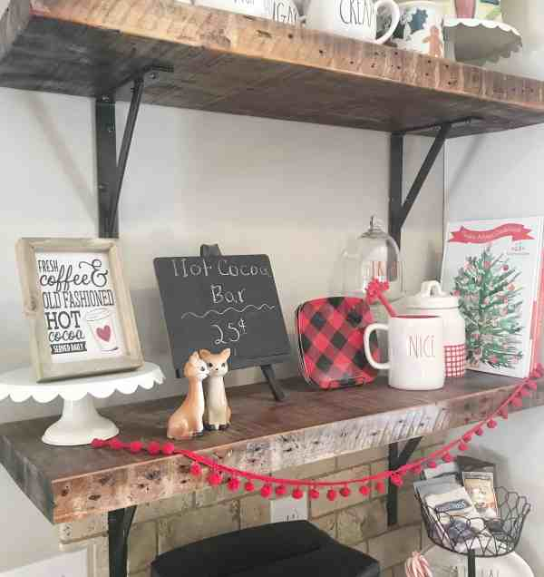 hot cocoa bar inspiration #hotcocoastation #hotchocolate #farmhousechristmas #christmasdecor #buffalocheck #raedunn