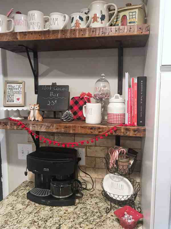 Hot Cocoa Bar Inspiration #hotchocolate #rustic #farmhouseshelves #winterdecor