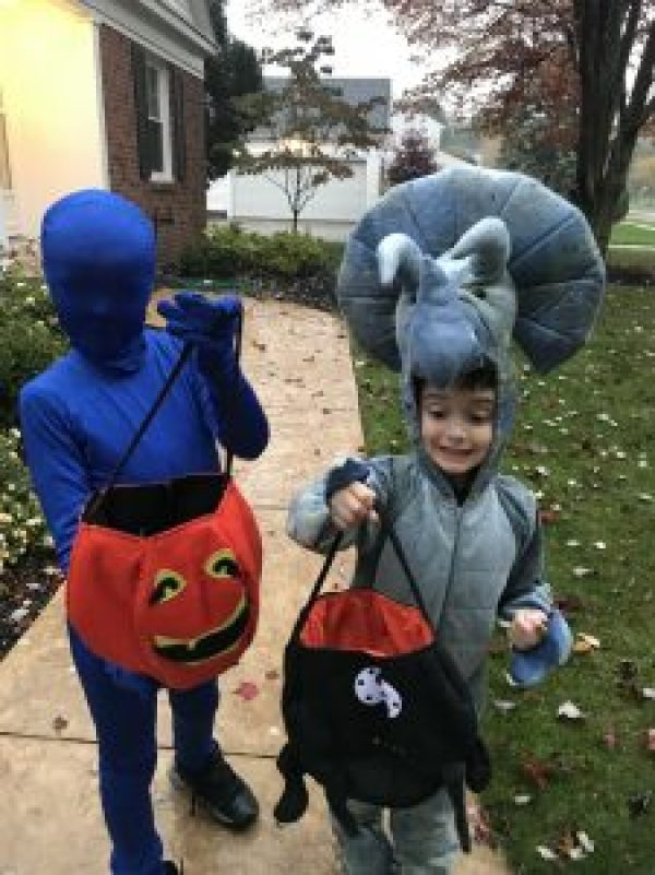 Celebrating Halloween with Kids #dinosaurcostume #blueman