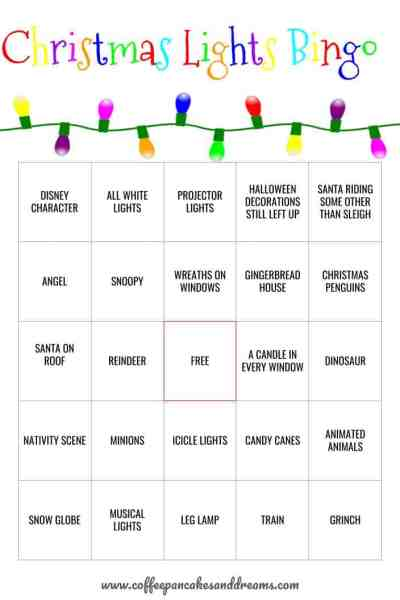 Christmas Lights Bingo Cards #christmasbingo #bingoprintable #christmaslights