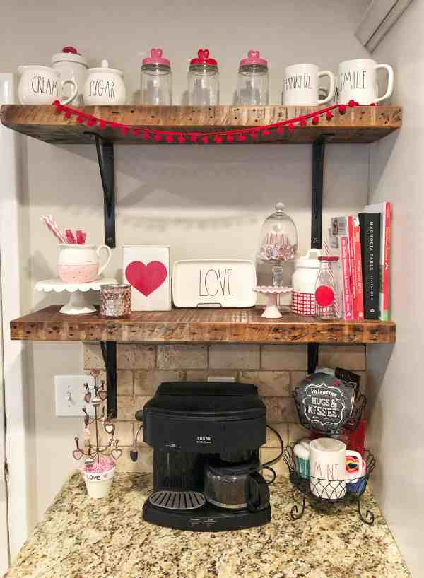 Valentines Day Coffee Bar #valentinesdecor #coffeebar #valentinesday