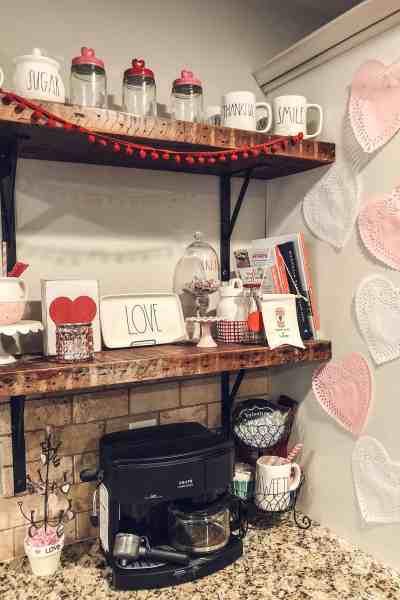 Valentine's Day Farmhouse Decor #coffeebar #farmhouseshelves #diyvalentinesdecor