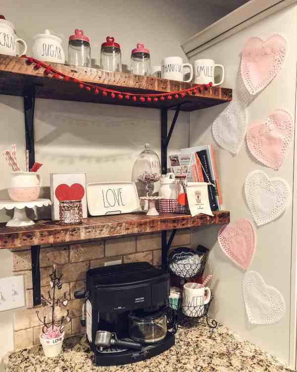 Valentine's Day Farmhouse Decor #coffeebar #farmhouseshelves #diyvalentinesdecor