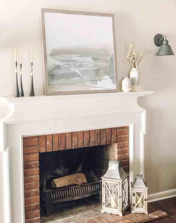 Modern Farmhouse Fireplace Mantle #neutral #rustic #fixerupper #decorideas