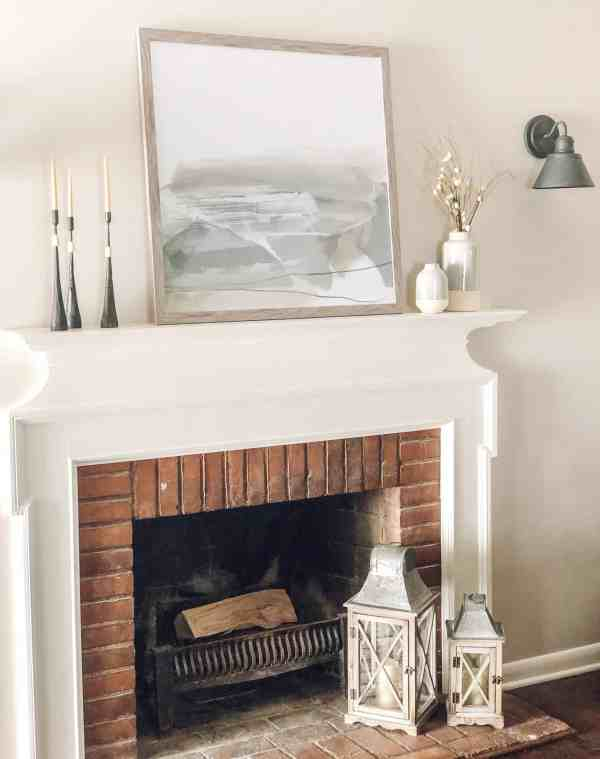 Fireplace Mantle Decor Inspiration #neutral #farmhouse #modern #gray #artwork