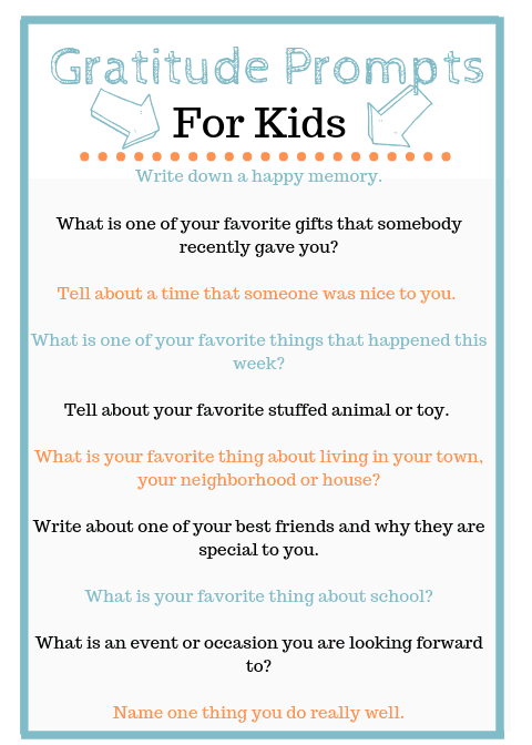 Journal Prompts for Kids Free Printable #gratitude #mindfulness #journaling #family