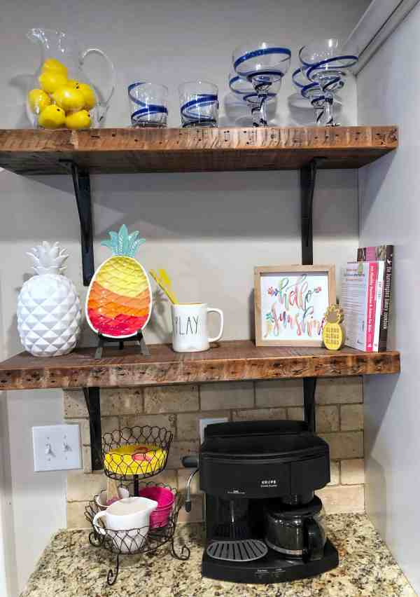 Summer themed coffee bar #pineapples #farmhousestyle #fixerupper #colorful