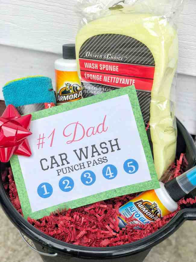 Father's Day Car Wash Gift Basket Idea #printable #kids #dads #homemade