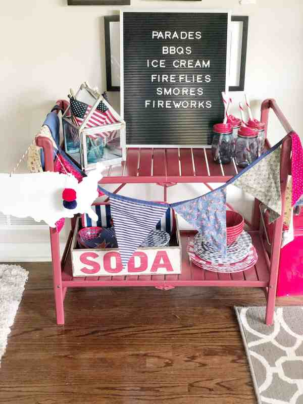 4th of July Bar Cart Style #summerdecor #redwhiteblue #letterboard