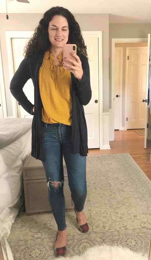 Fall Outfit Inspiration #plaidshoes #mustard #cardigans #walmart