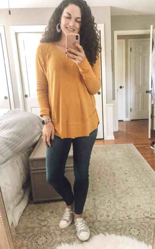 Yellow Tunic Top #walmartfinds #falloutfits #converse