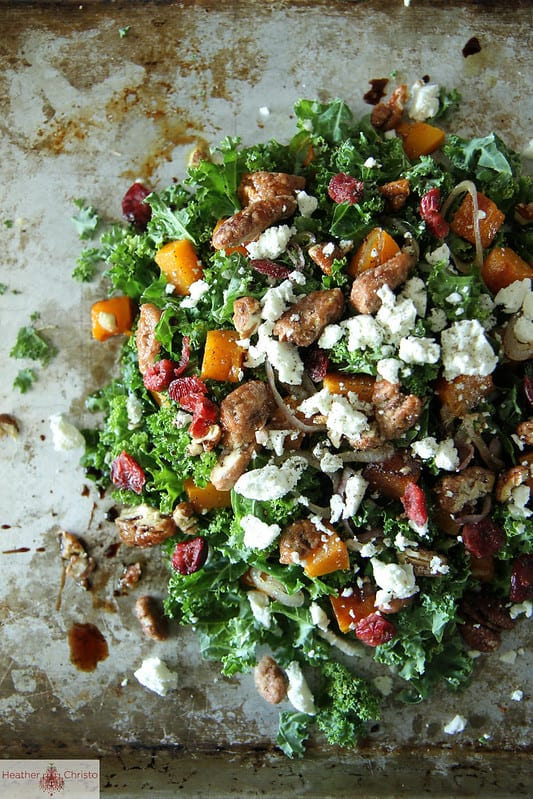 Kale Salad with Roasted Pumpkin, Cranberries and Goat cheese