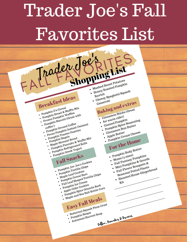 Trader Joe's Fall Favorite List #printable #grocery #products